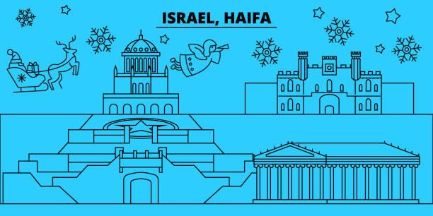 israel, haifa winter urlaub skyline. merry christmas, happy new year dekoriert banner mit santa claus.israel, haifa lineare weihnachten stadt flach vektorgrafik - haifa stock-grafiken, -clipart, -cartoons und -symbole