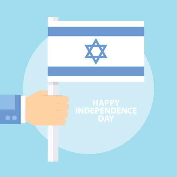 israel happy independence day celebration card with hand holding flag of israel. - israel independence day stock illustrations, clip art, cartoons, & icons