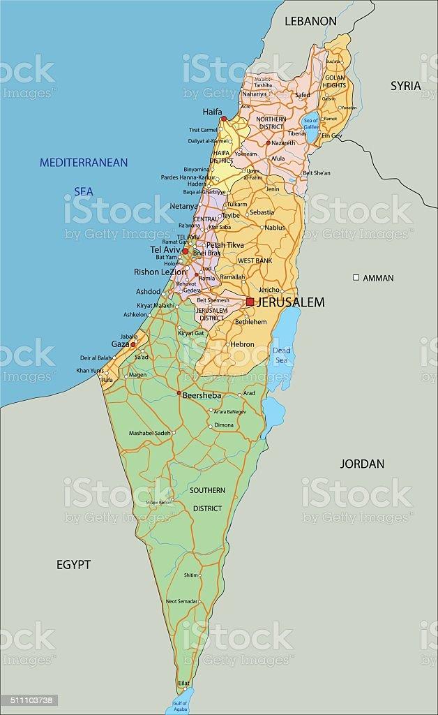 Cartina Israele Fisica.Israelealtamente Dettagliate Modificabile Mappa Politica Di