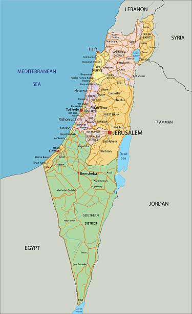 ilustraciones, imágenes clip art, dibujos animados e iconos de stock de israel-altamente detallada, editable mapa político con la etiqueta. - mapa de oriente medio