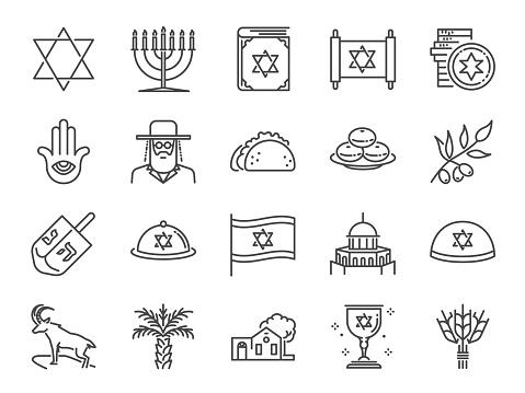 Israel icon set. Included icons as Israeli, Jerusalem, jewish, rabbi, torah, dates palm and more.