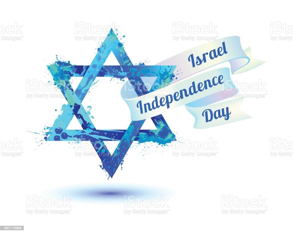Israel independence day. David star of splash paint vector art illustration