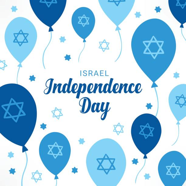 israel independence day greeting card with balloons and jewish stars - israel independence day stock illustrations, clip art, cartoons, & icons