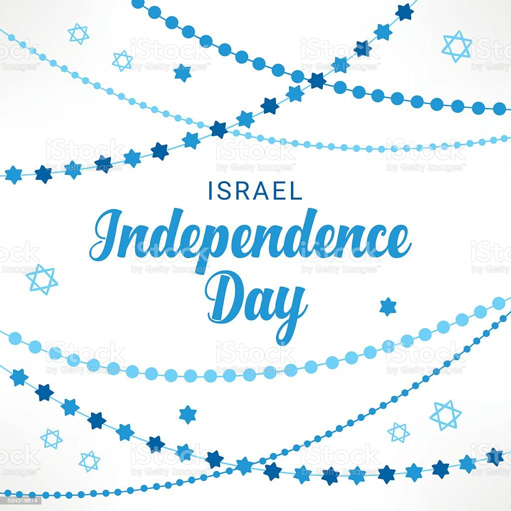 Israel Independence Day greeting card with garlands vector art illustration