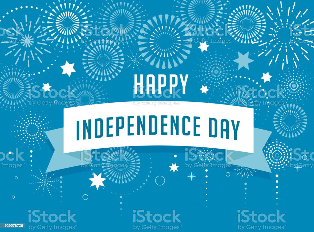 Israel Independence Day poster design, banner with fireworks vector art illustration