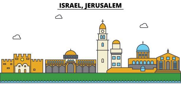 Line Art Jerusalem : Royalty free jerusalem skyline drawing clip art vector
