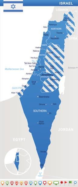 israel - karte und flagge abbildung - haifa stock-grafiken, -clipart, -cartoons und -symbole