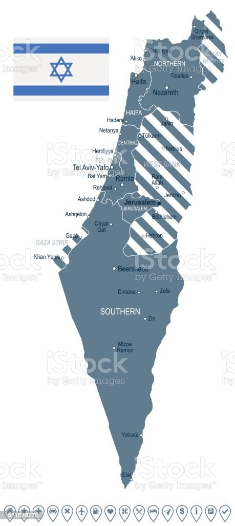 Israel Map And Flag Illustration Stock Vector Art & More Images of ...