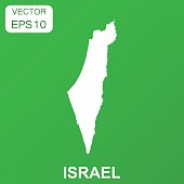Israel map icon. Business concept Israel pictogram. Vector illustration on green background.