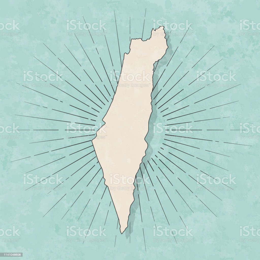 Map of Israel in a trendy vintage style. Beautiful retro illustration...