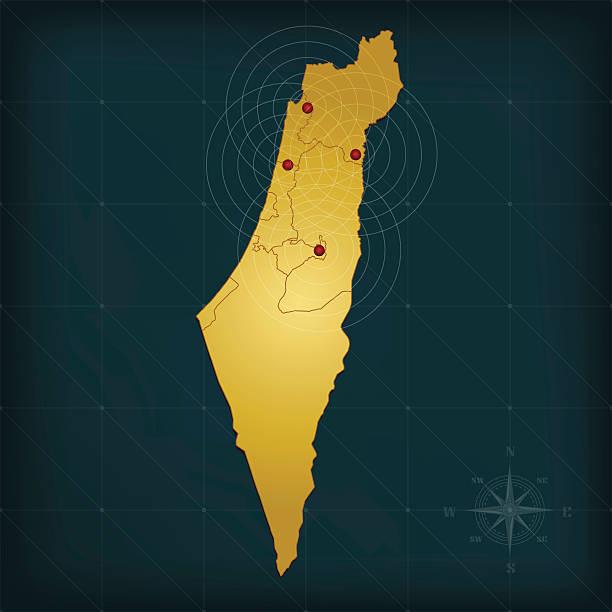 israel karte auf dunklem hintergrund mit grid und marker - haifa stock-grafiken, -clipart, -cartoons und -symbole