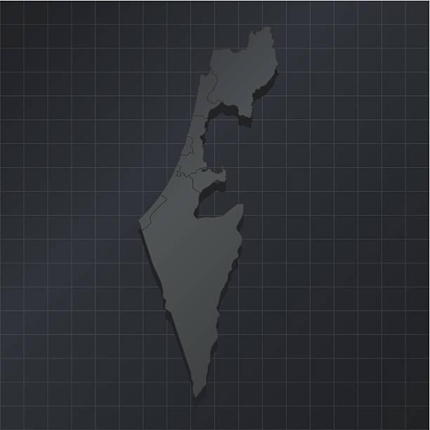 israel karte auf dunklem hintergrund mit grid - haifa stock-grafiken, -clipart, -cartoons und -symbole