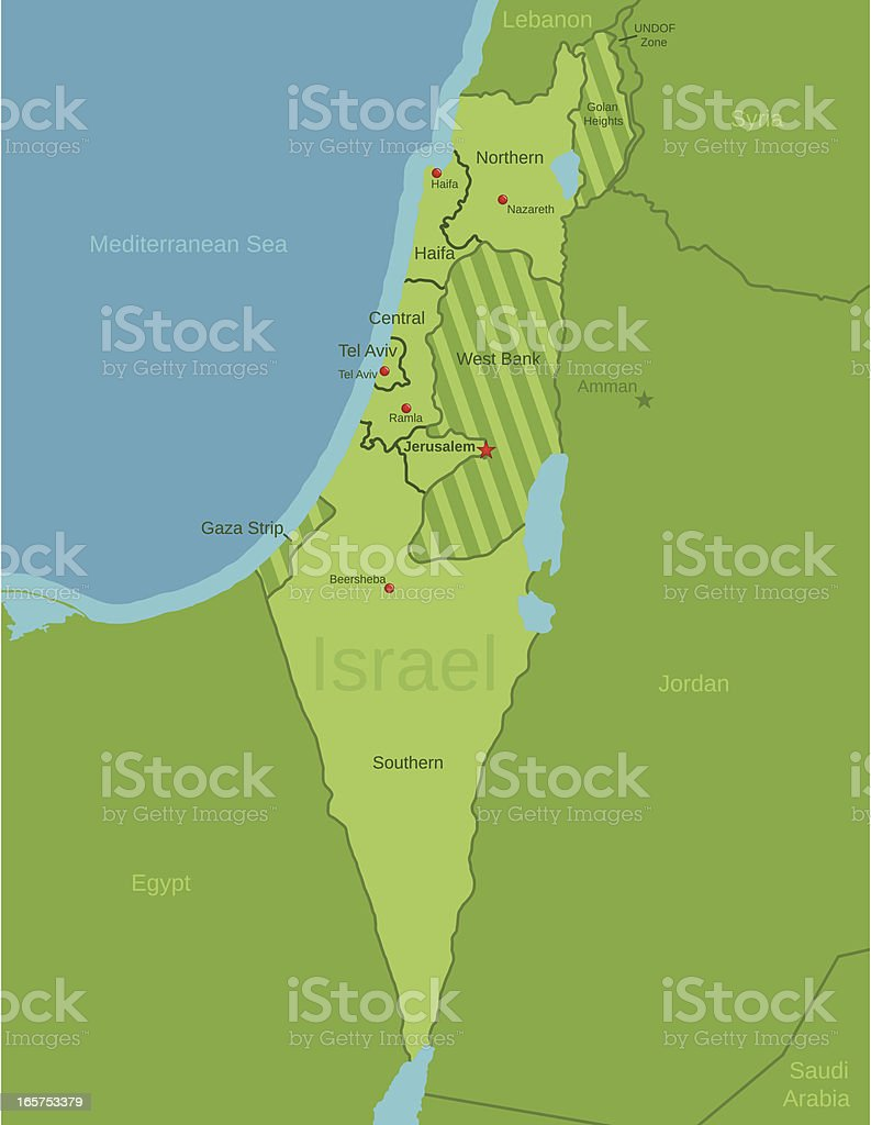 Israel Map showing Districts royalty-free stock vector art