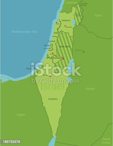 istock Israel Map showing Districts 165753379