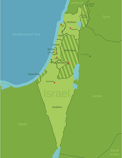 israel karte mit viertel - haifa stock-grafiken, -clipart, -cartoons und -symbole