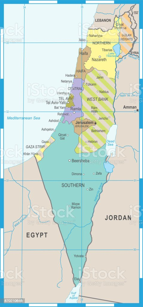 Israel Map Vector Illustration Stock Vector Art & More Images of ...