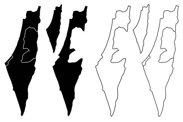 ilustrações, clipart, desenhos animados e ícones de vetor mapa de israel - mapa do oriente médio