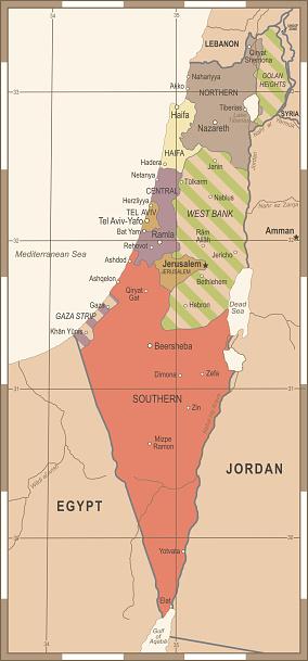 Israel Map - Vintage Detailed Vector Illustration