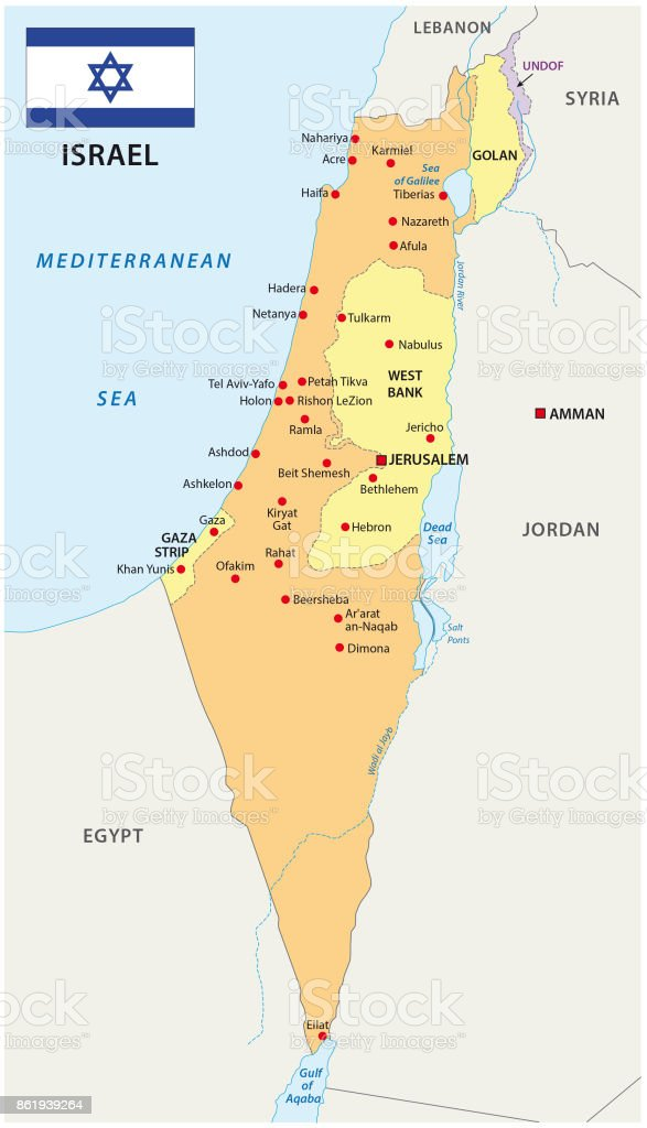 Israel map with flag vector art illustration