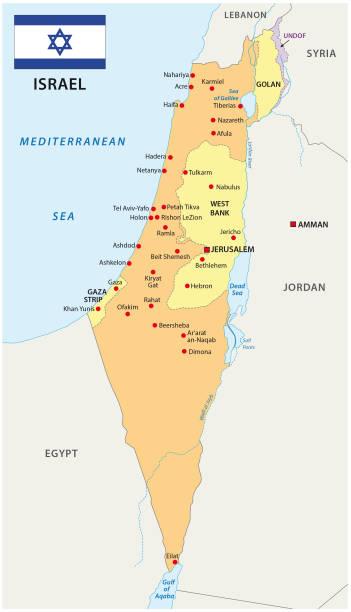 israel karten mit flagge - haifa stock-grafiken, -clipart, -cartoons und -symbole