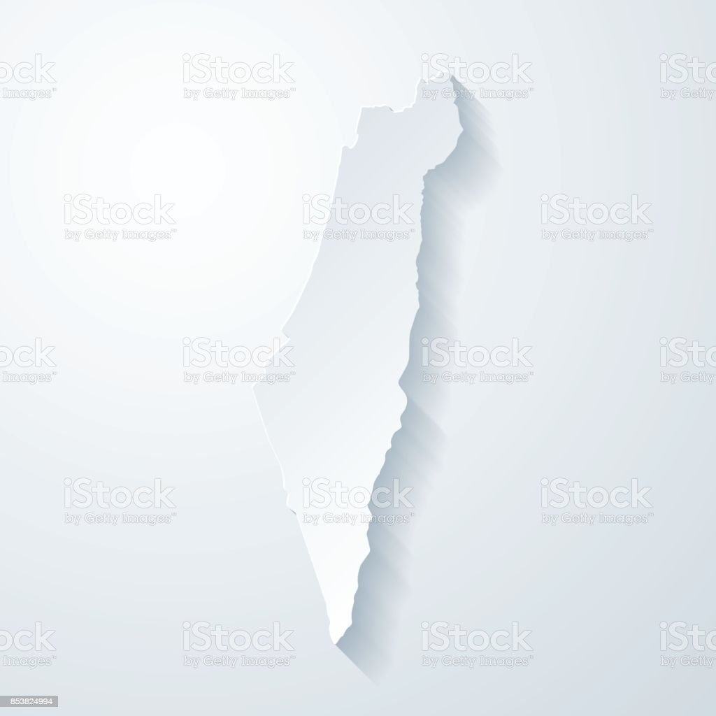 Israel map with paper cut effect on blank background vector art illustration