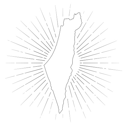 Map of Israel created with a thin black outline and  light rays. Trendy and modern illustraion isolated on a blank background. Vector Illustration (EPS10, well layered and grouped). Easy to edit, manipulate, resize or colorize.