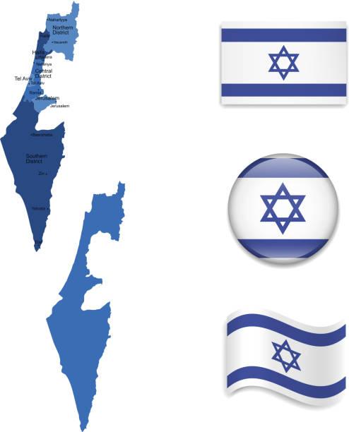 israel karten und flaggen-kollektion - haifa stock-grafiken, -clipart, -cartoons und -symbole