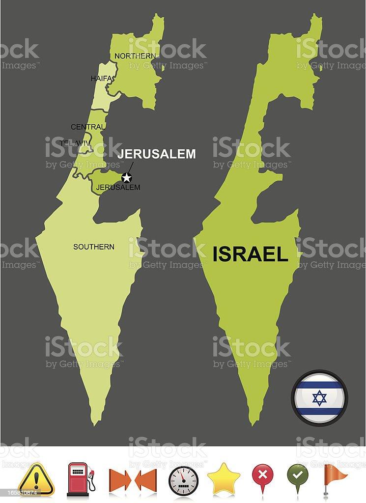 Israel navigation map royalty-free stock vector art