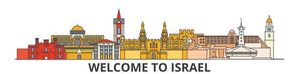 skyline von israel gliederung, israelische flache dünne linie symbole, wahrzeichen, illustrationen. stadtbild von israel, israelische reisen stadt vektor banner. urbanen silhouette - haifa stock-grafiken, -clipart, -cartoons und -symbole