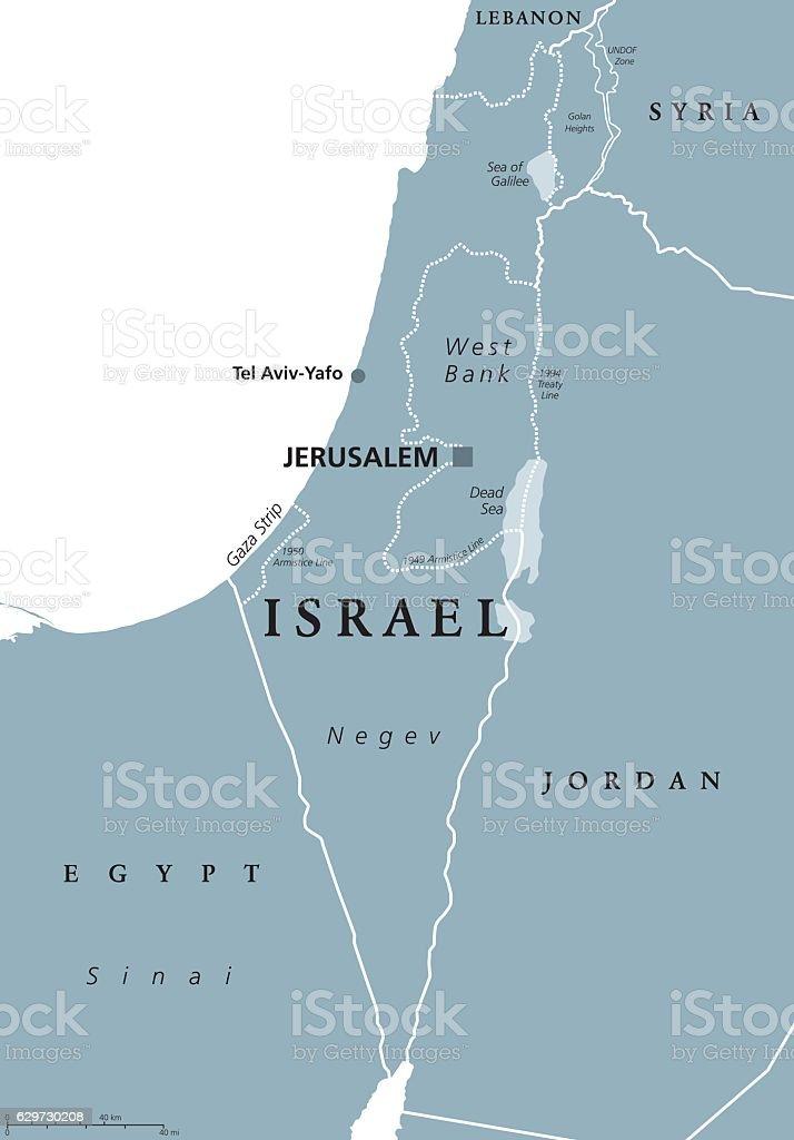 Israel political map gray vector art illustration