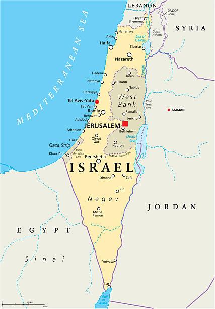 ilustrações, clipart, desenhos animados e ícones de israel mapa político - israel
