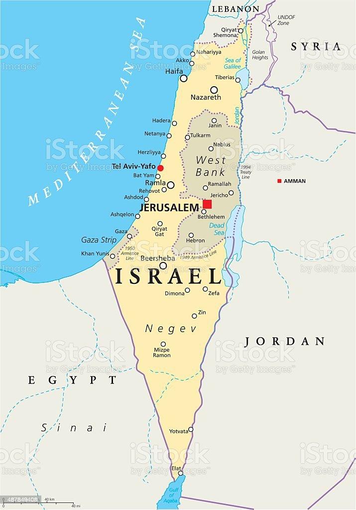 Israel Political Map vector art illustration