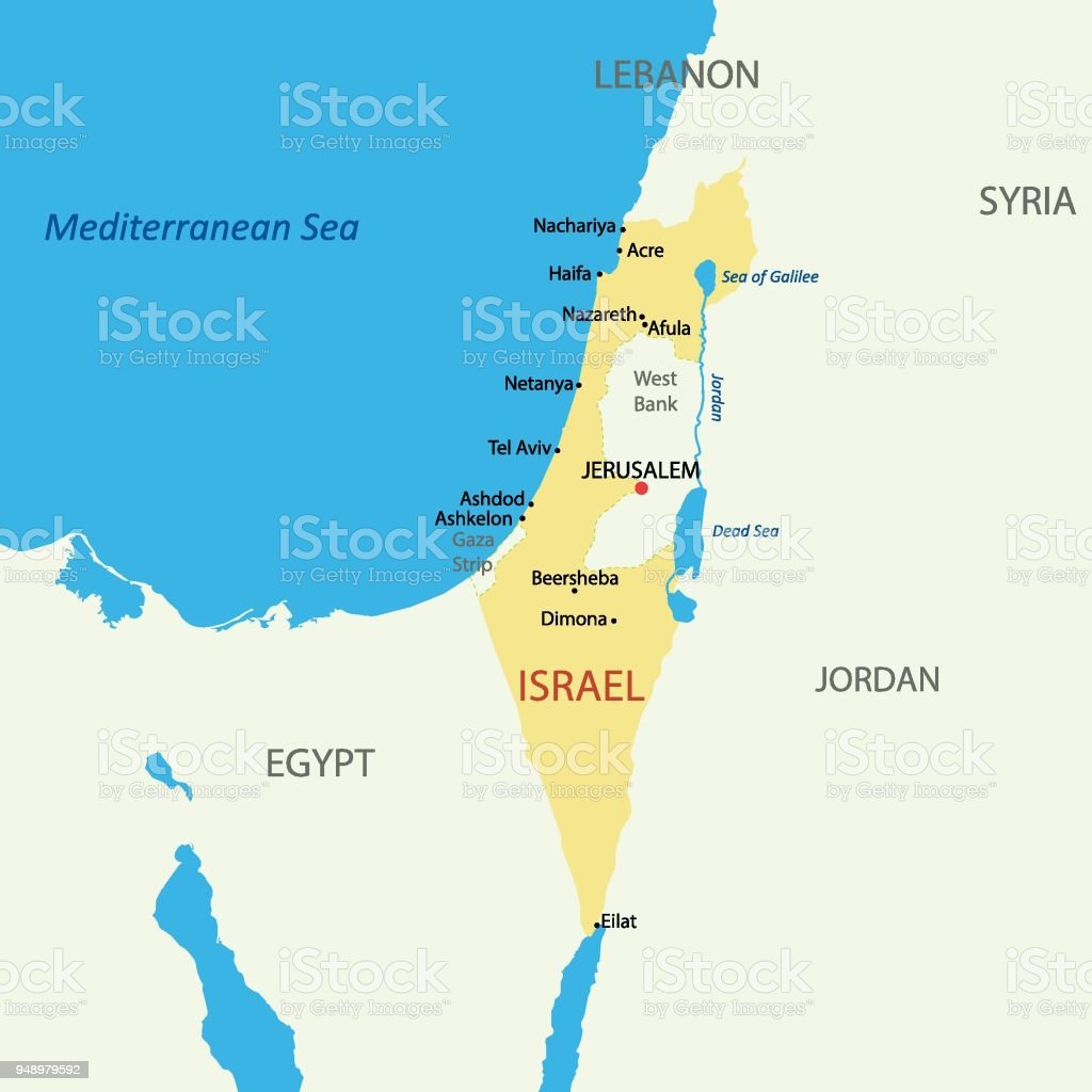 Israel Political Map With Capital Jerusalem National Borders ...