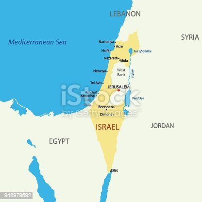 istock Israel political map with capital Jerusalem, national borders, important cities, rivers and lakes. English labeling and scaling. Illustration. 948979592