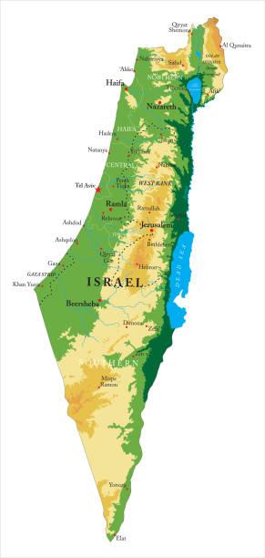 israel-reliefkarte - haifa stock-grafiken, -clipart, -cartoons und -symbole