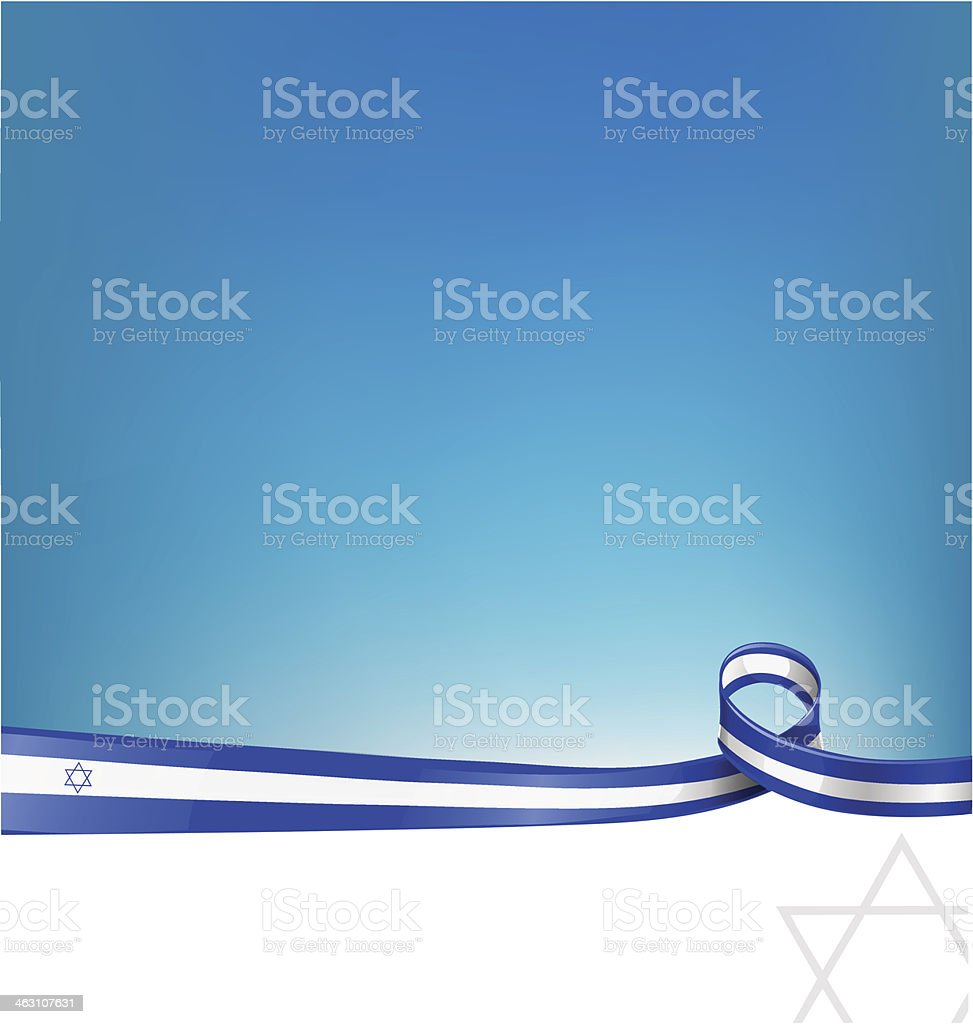 israel ribbon flag vector art illustration