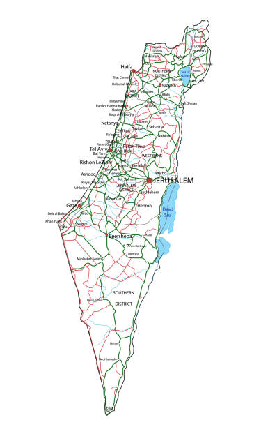israelische straßen-und autobahnkarte. vector illustration. - haifa stock-grafiken, -clipart, -cartoons und -symbole