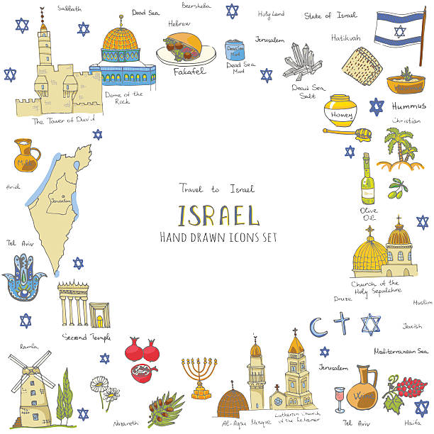 israel-set - haifa stock-grafiken, -clipart, -cartoons und -symbole