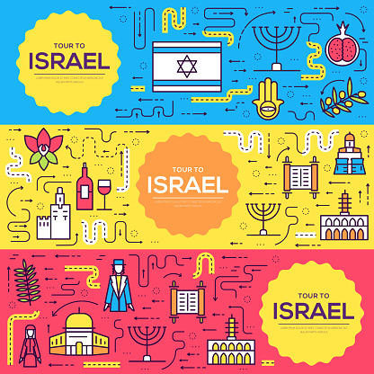 Israel  vector brochure cards thin line set. Country template of flyear, magazines, posters, book cover, banners. Layout culture outline illustrations modern pages