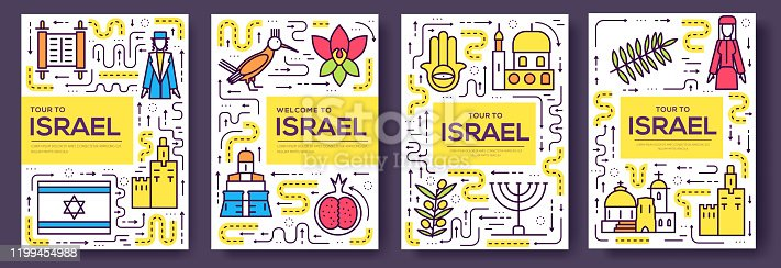Israel  vector brochure cards thin line set. Country template of flyer, magazines, posters, book cover, banners. Layout culture outline illustrations modern pages