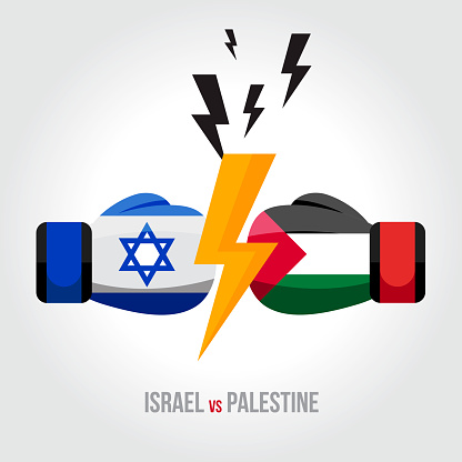 Israel vs Palestine. Concept of trade war, fight, sport match or war between Israel and Palestine.