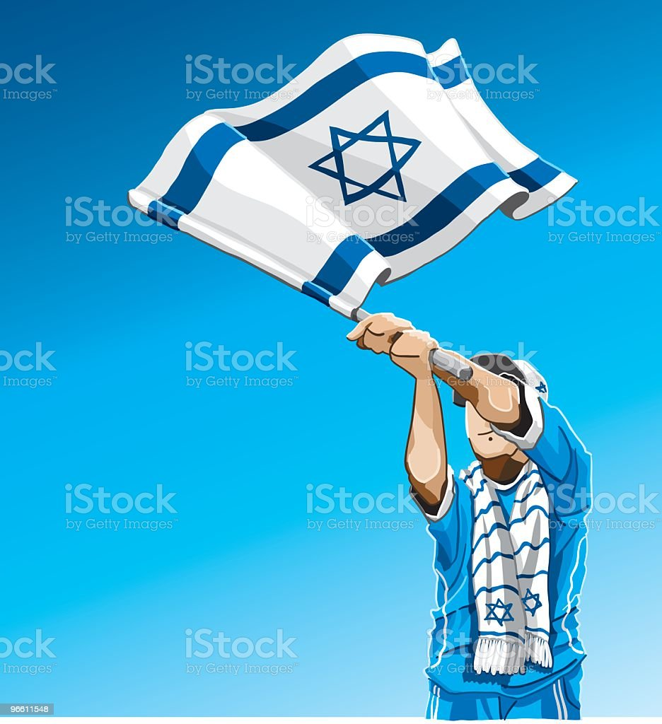 Israel Waving Flag Soccer Fan - Royalty-free Adult stock vector