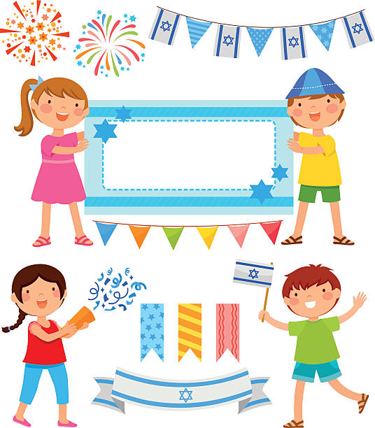 israeli cartoons - israel independence day stock illustrations, clip art, cartoons, & icons