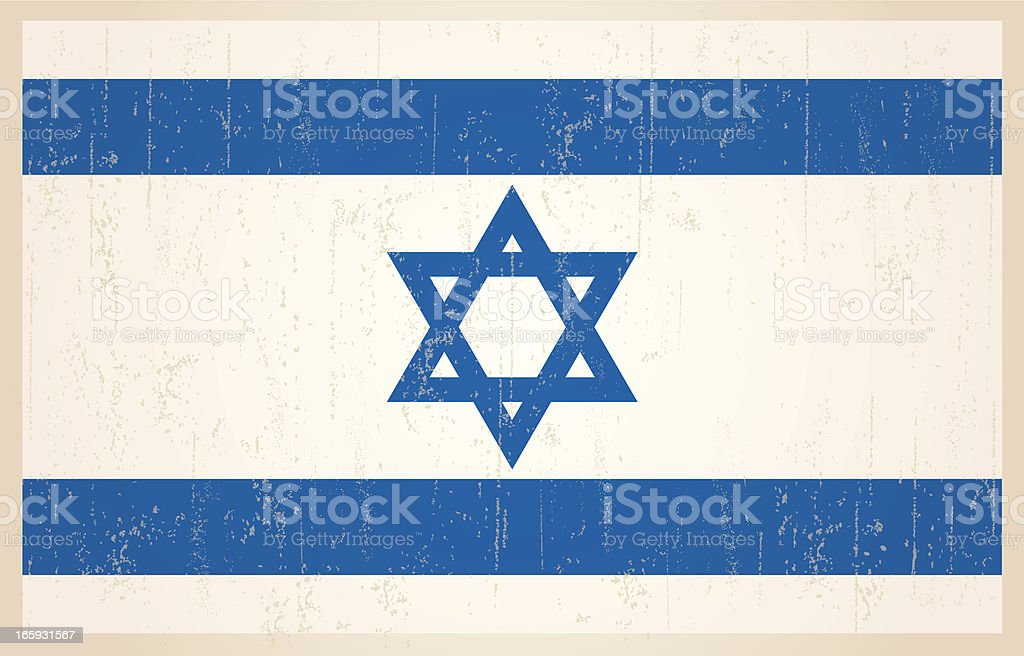 Israeli flag in grunge and vintage style. royalty-free stock vector art