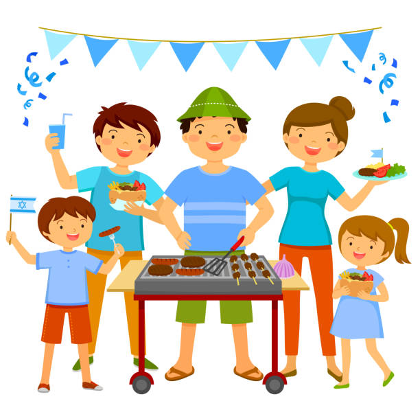 israeli independence day barbecue - israel independence day stock illustrations, clip art, cartoons, & icons