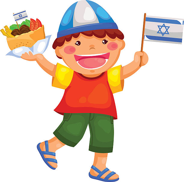 israeli kid - israel independence day stock illustrations, clip art, cartoons, & icons
