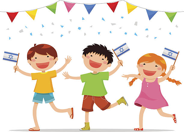 israeli kids - israel independence day stock illustrations, clip art, cartoons, & icons