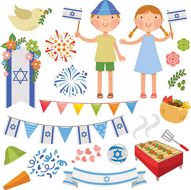 israeli party - israel independence day stock illustrations, clip art, cartoons, & icons