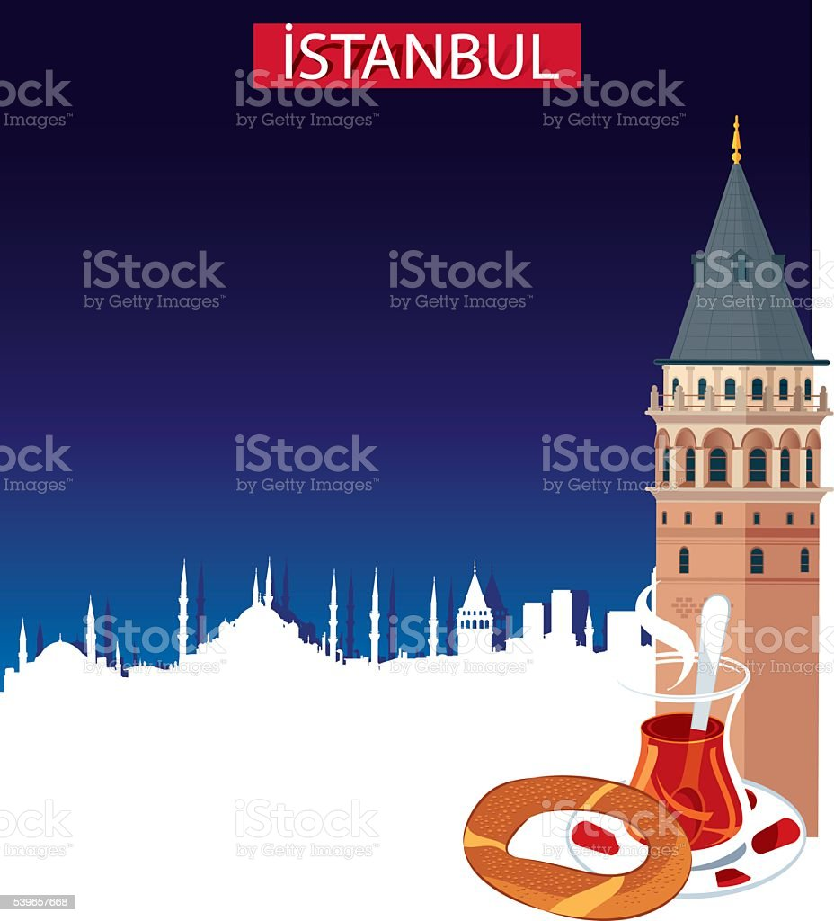 Istanbul and Galata Tower vector art illustration
