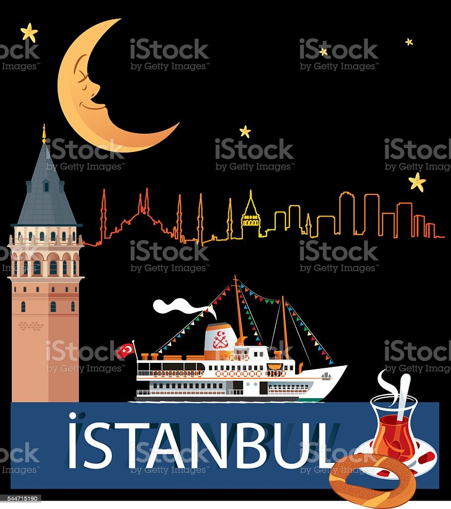 Istanbul and Steamship vector art illustration